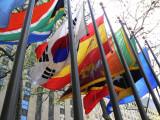 Rockefeller Plaza: National flags closeup