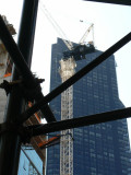 W 57th Construction: scaffold in foreground, crane in background