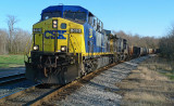 A CSX FREIGHT TRAIN APPROACHES THE POINT OF ROCKS, MARYLAND STATION