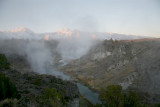 Steam coming out above hot creek .