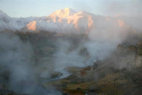 Snow capped Mtns showing through the steam !!!