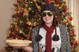 Pat's daughter Becca wearing her Christmas presents