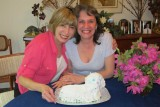 Ginny and Pat wiith a lamb cake