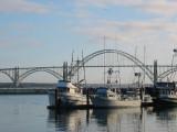 Yaquina Bay bridge and boats