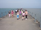 Cast of characters on pier