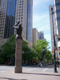 Center of uptown w/ statues