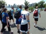 Zog football team walking on Randall's Island