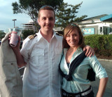 Melissa and I - my first outfit of the night, Yacht Captain