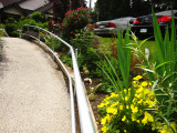 In the garden, a new railing has been installed