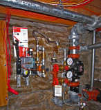 In the basement, controls for the fire suppression system