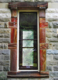 A window at Ohio House, with exotic Ohio stone