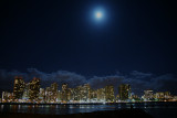 Waikiki at night with an almost full moon