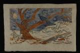 winterblew (woodcut) 12 x 18