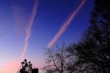 sunset contrails