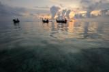 Thailand. Phi Phi island. Sunrise scenery with thai boats