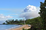 Smoke plume from the sugar cane fields
