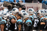 Carolina Panthers huddle