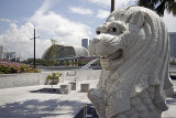 The Smaller Merlion with the Esplanade