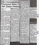 Camp Leo - Manning Lake - Newspaper Article