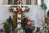 Nerja plaza cross with flamenco dancer
