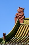 Dragons adorn the roof of a building at the Winter Palace of the Bogd Khaan