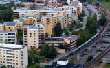 Bostadsrättsföreningen Römö med servicehuset i förgrunden