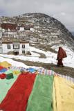 Prayer flags at Ganden Monastery