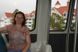 Angela on the monorail