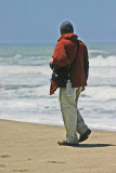 Stephen on the wind swept beach