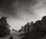 Hoodoos with Contrail, Bryce Canyon, 2000