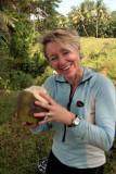 Helen enjoys a coconut!