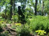 Dinosaur in Garden at Creation Museum.