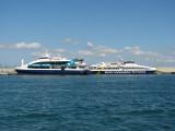 Competitors Espalmador Jet and Blau de Formentera at rest at La Savina