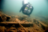 Dildo.. what does a diver do when they find a toilet underwater... sit on it!