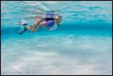 Snorkler at Sandbar