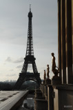 Eiffel tower and statue