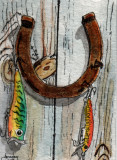 Rusty Horseshoe with Fishing Lures   5-10