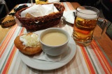 Fokhagymaleves, tejfölös - sajtos lángossal: Garlic cream soup served with traditional Hungarian fried bread.