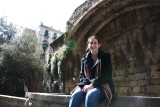 Francine in front of the Roman Aqueduct