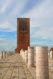 The massive minaret of the Hassan Mosque dates from 1195. It towers over Rabat.