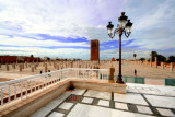 The square with a beautiful street light, the Hassan Mosque and a gorgeous sky that day.