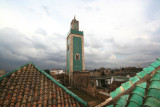 View of a minaret of the Grande Mosque in Meknès from the rooftop of the Medrassa Bou Inania.