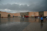 There had just been a huge downpour in Meknès, so people were running for cover.