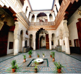 A composite (from 3 photos) of the courtyard of Dar Adiyel in Fès. In the summer, the family used the downstairs to stay cool.