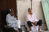 These two Moroccan men were having a pleasant afternoon taking a break in the medina in Fès.