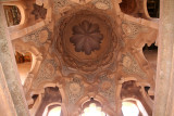 The ornate interior ceiling of the tower of La Qoubba.