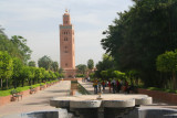 View of the minaret of the Koutoubia Mosque in Marrakech during the daytime. Only Muslims are permitted to enter it.