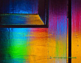 Stained Glass Reflected on Door