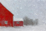 Red Barn In Snow 12036 Art