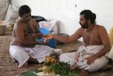 A Brahmin celebrates the anniversary of his father´s death in Srirangam, Tamil Nadu.